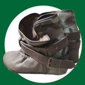 Call it spring | hidden wedge camo heel booties